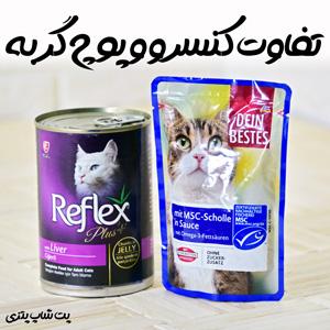 تفاوت کنسرو گربه با پوچ گربه